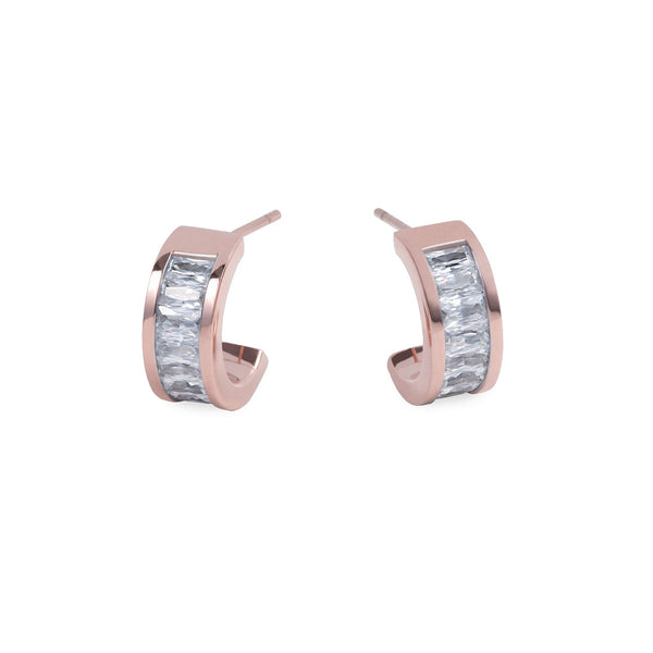 rose gold stainless steel hoop earring with stones