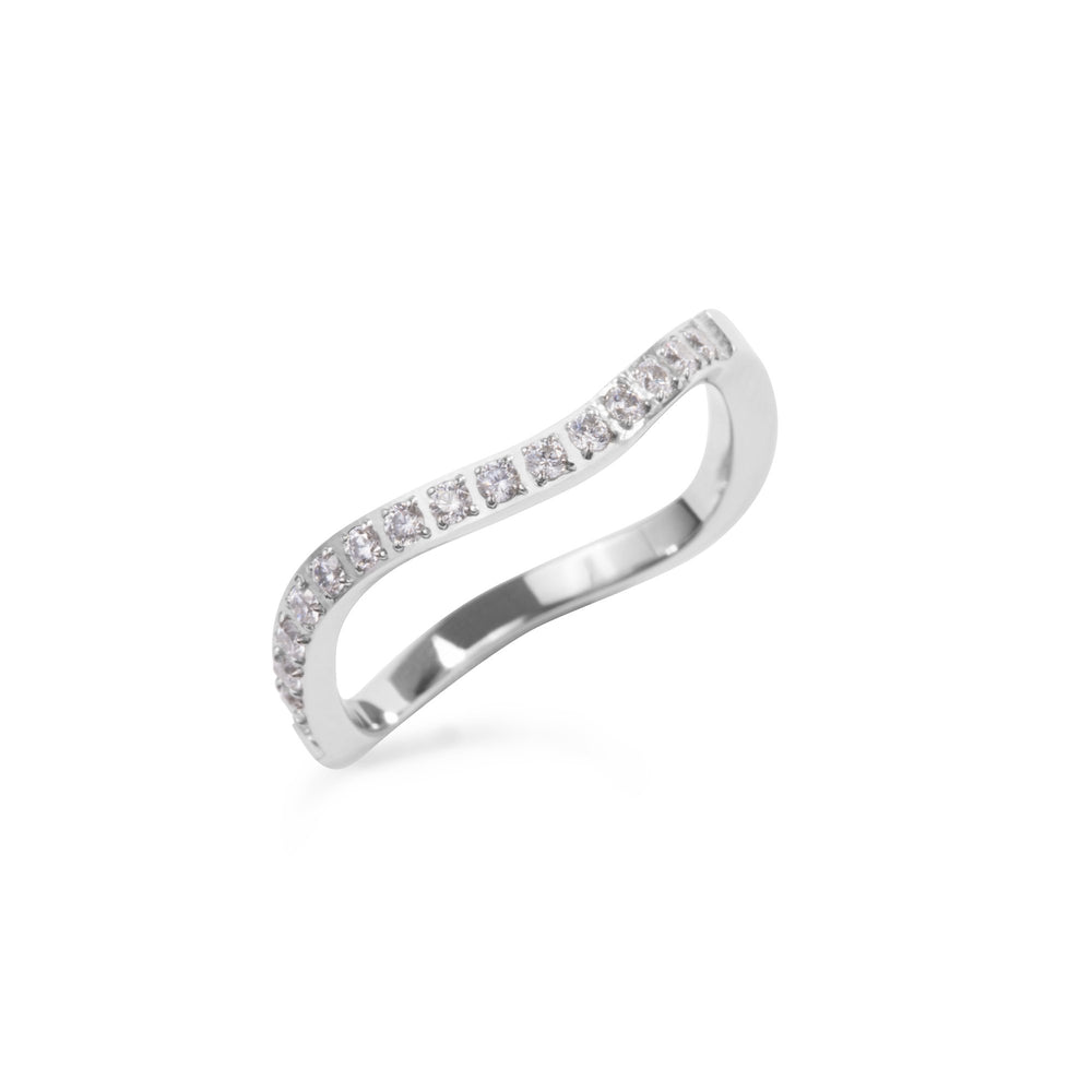 stainless steel thin ring wave stones T119R002AR MIA JEWELLERY