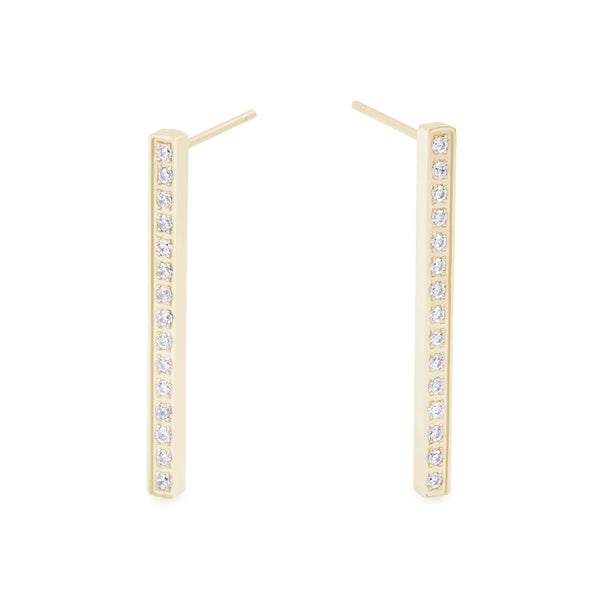 gold stainless steel long bar earrings stones T119E010DO MIAJWL
