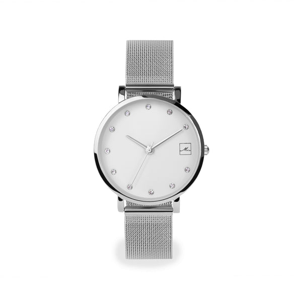 minimal small watch 30mm with stones stainless steel W119M02AR MIA Jewelry