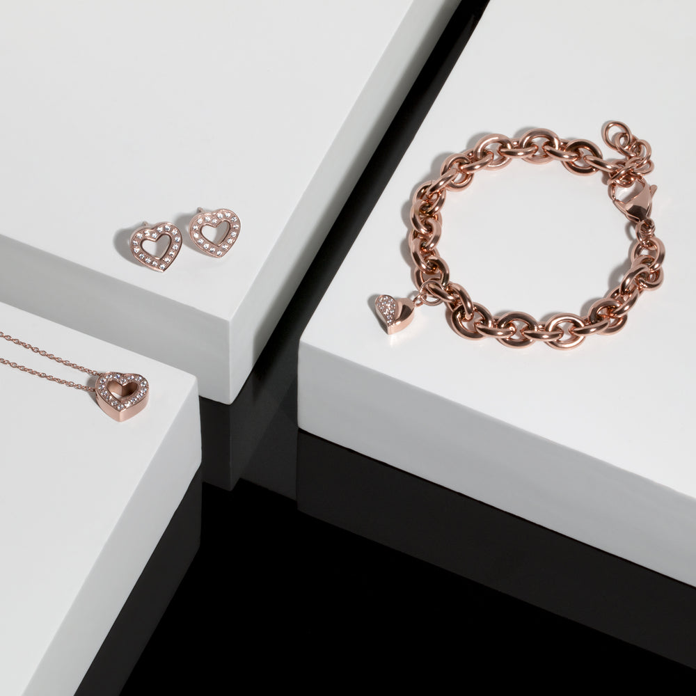 rose gold heart charm bracelet stainless steel