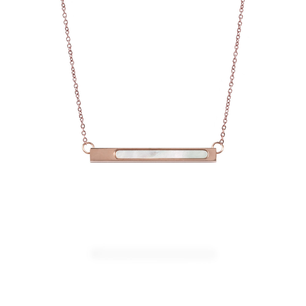 rose gold geometric bar pendant necklace for women