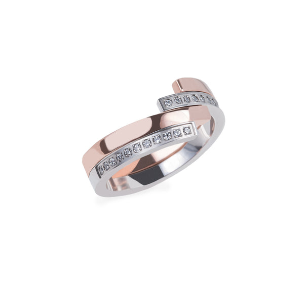 rose gold silver modern ring stones stainless steel