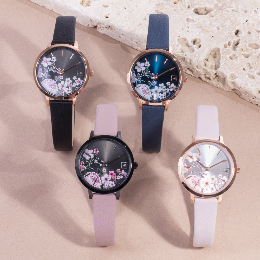 navy leather watch with flowers dial W119M01BM MIA Jewelry