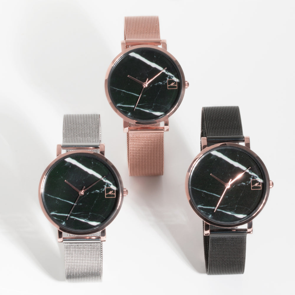 rose gold black marble watch women