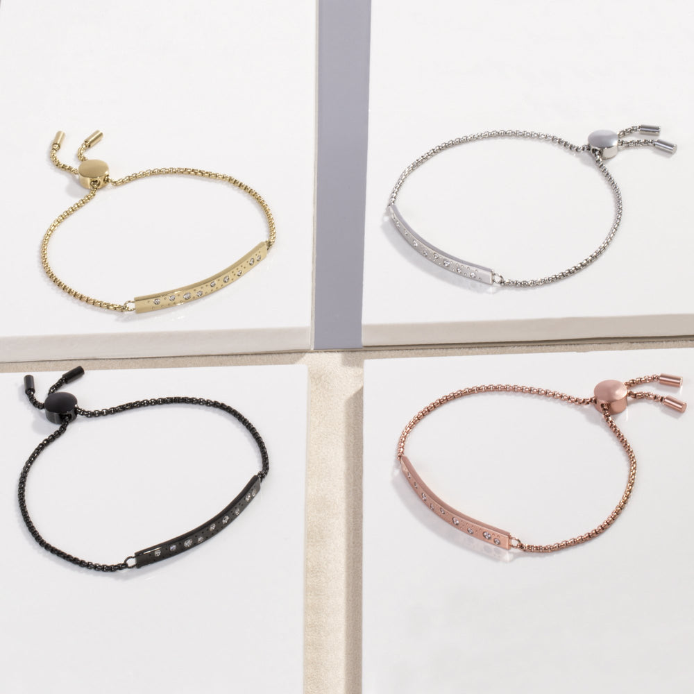 stainless steel adjustable bracelet stones plate