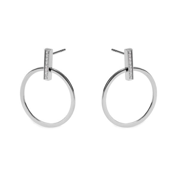 silver minimal circle earrings for women