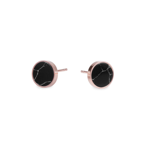 black marble round stud earrings