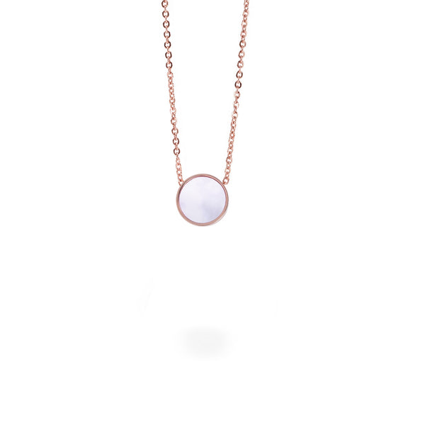 pink mop rose gold pendant necklace