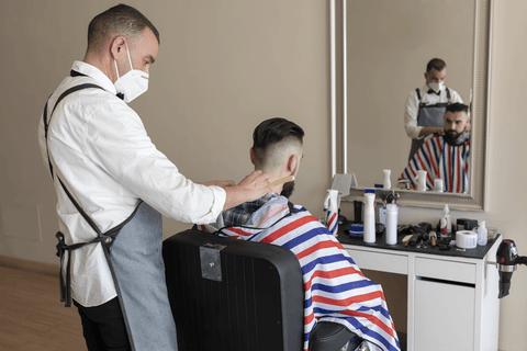 Barber with face mask