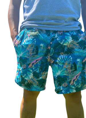 Blue Floral Board Shorts