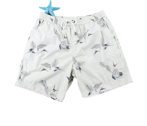 White Crane Board Men's Shorts