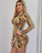 Load image into Gallery viewer, Claudia Wild Leopard Sequin Mini Dress