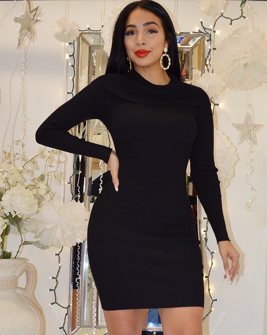 Mallory Black Sweater Midi Dress - La Epoca Fashion