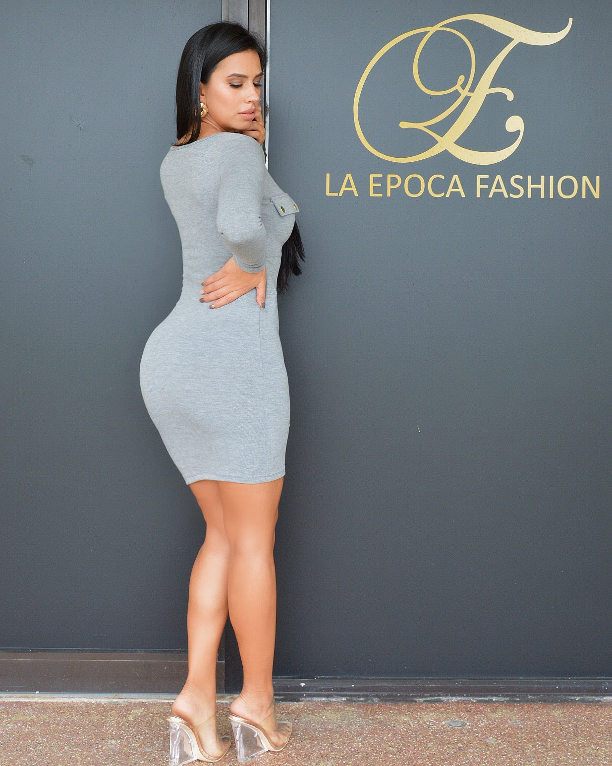 Mandi Grey Sweater Dress