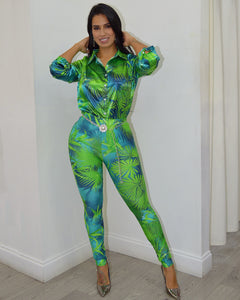 Caribbean Queen Leave Print Pants Set