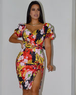 Load image into Gallery viewer, Lexxa Fancy Floral  Belted Dress