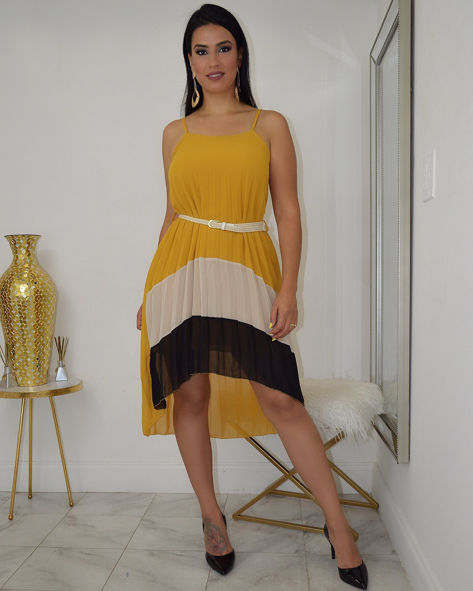 Color Block Pleated Dress - La Epoca Fashion