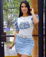 Load image into Gallery viewer, Take the Lead Cargo Denim Skirt