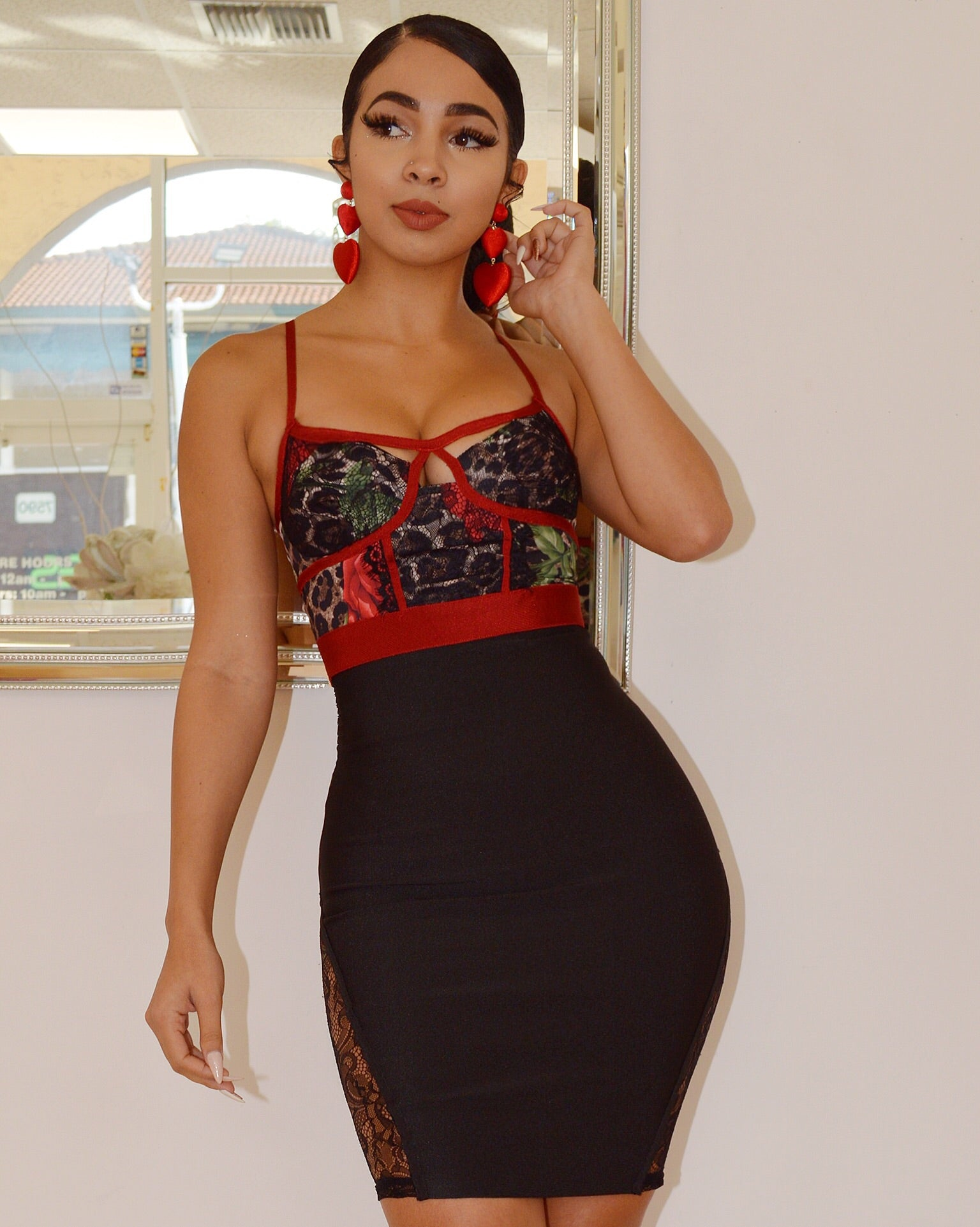 Jolene Floral Black Cutout Bustier Bandage Dress