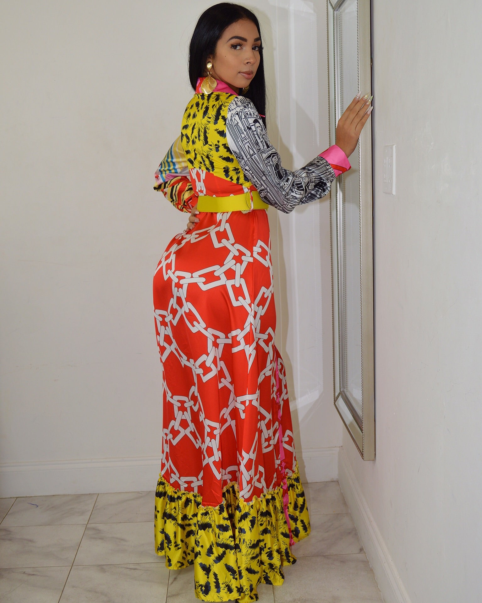 Chic in Print Long Sleeve  Maxi Dress - La Epoca Fashion