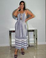 Load image into Gallery viewer, Nashville Patttern Boho Linen Maxi Dress