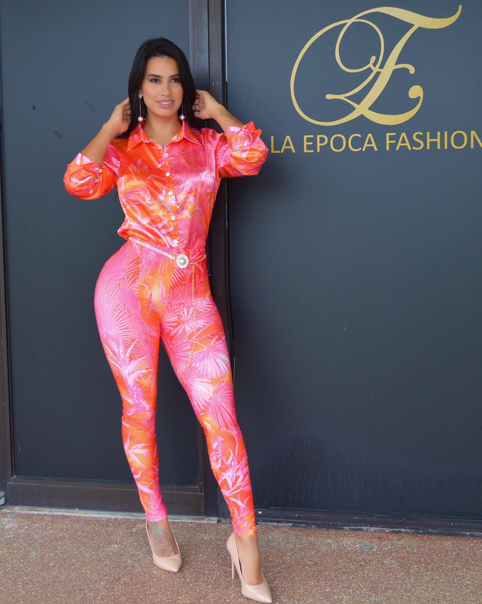 Caribbean Queen Leave Print Pants Set - La Epoca Fashion