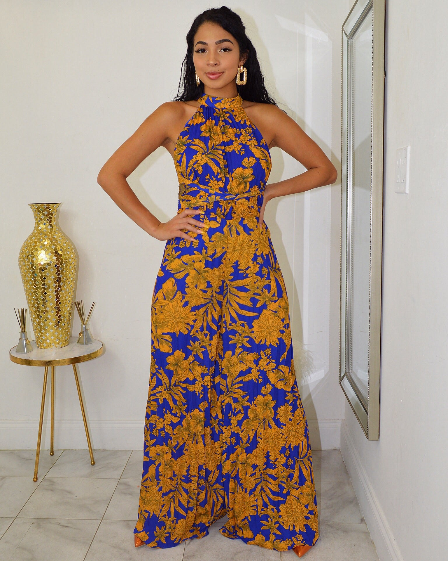Bahama Breeze Pleaded Blue Maxi Jumpsuit - La Epoca Fashion