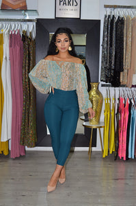 Sassy and Chic Teal Slim-fit  Pants