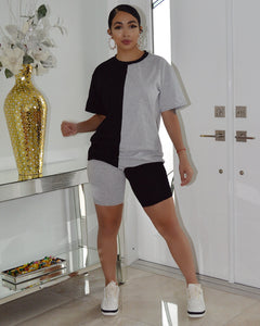 Bella Mi  Grey Black  Bike Shorts Set