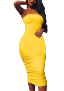 Share  The Love Strapless Yellow Dress