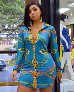 Versace Inspired Chain Print Shirt Dress