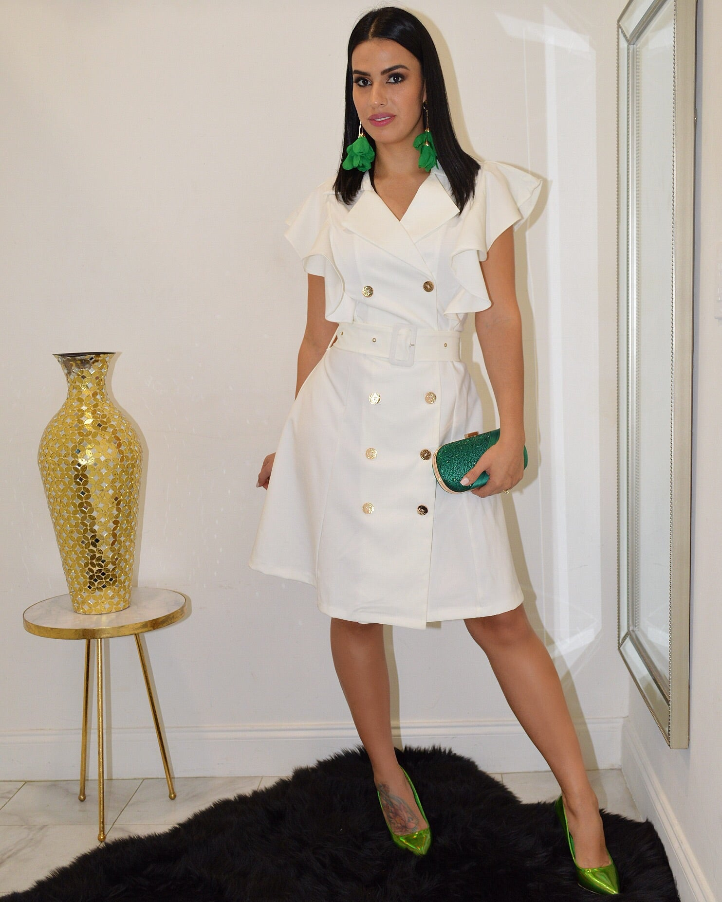 My Touch of Class White  Midi Dress