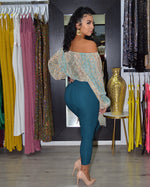 Load image into Gallery viewer, Sassy and Chic Teal Slim-fit  Pants