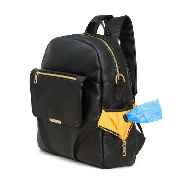 black bag diaper bag with gold zippers. Best Minimalist diaper bag backpack baby bag diaper bag with lots of pockets Pretty Pokets black and gold diaper bag