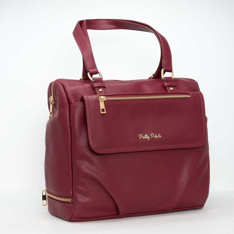 Ajanta Diaper Bag Tote - Burgundy (Bundle) - Pretty Pokets