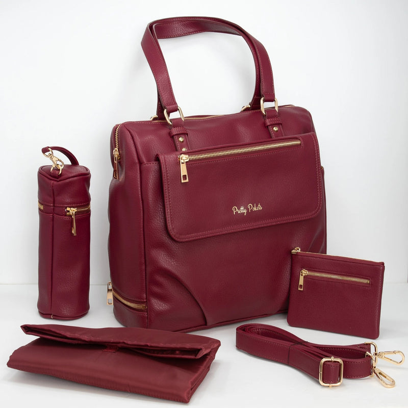 Ajanta Diaper Bag Tote - Burgundy (Bundle) - Pretty Pokets Diaper bag purse