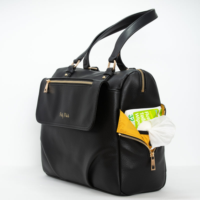 Ajanta Diaper Bag Purse - Black (Bundle) - Pretty Pokets black and gold diaper bag purse