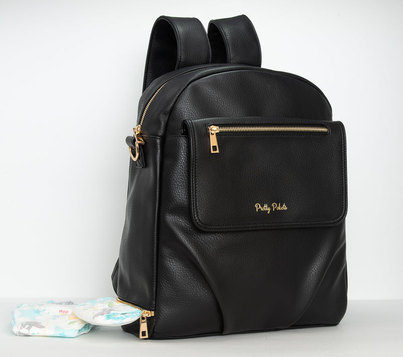 black diaper bag black backpack diaper  Shayla Diaper Bag Backpack -Black - Pretty Pokets bag  all black diaper bag  black and gold diaper bag  black diaper bag with gold zippers  black baby bag diaper bag tote diaper bag handbag
