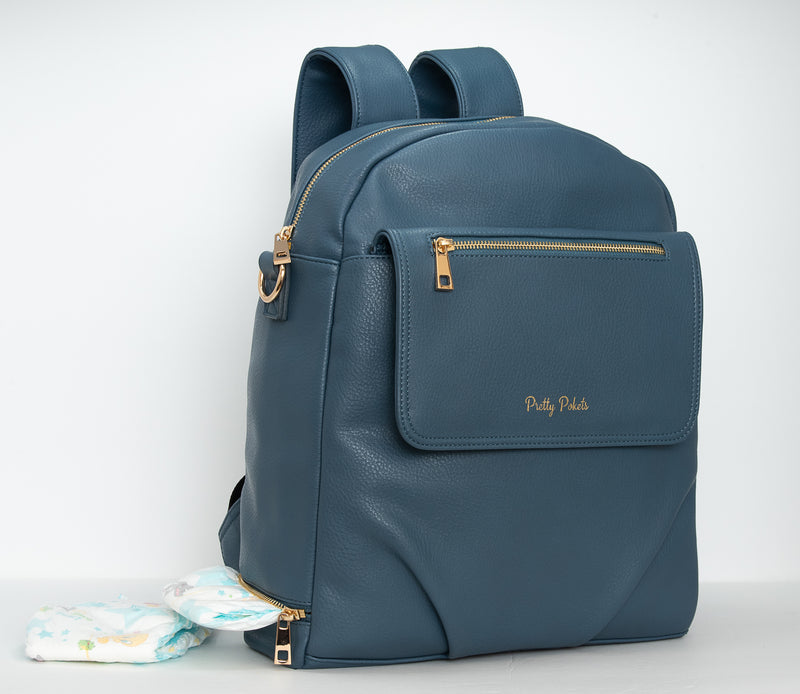 Shayla Diaper Bag Backpack -Blue - Pretty Pokets