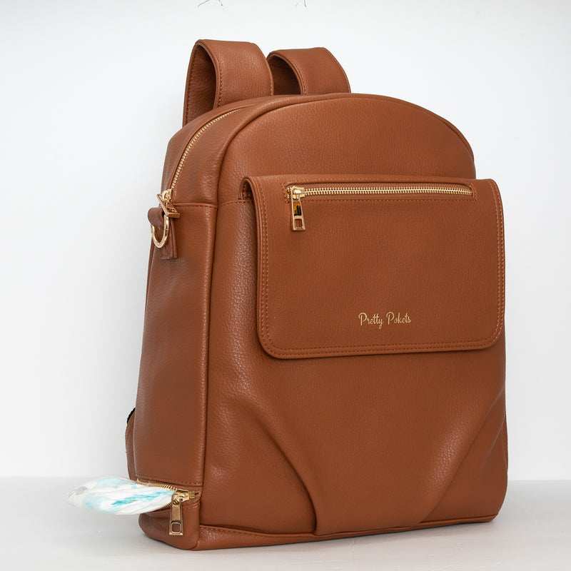 Shayla Diaper Bag Backpack -Brown - Pretty Pokets