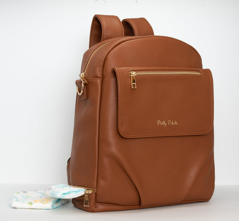 Shayla Diaper Bag Backpack -Brown - Pretty Pokets Brown diaper bag backpack baby bag small diaper bag Pretty Pokets diaper bag small diaper bag toddler mom bag mommy bag Shayla Diaper Bag Backpack - Cognac - Pretty Pokets