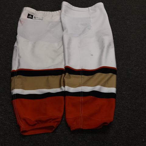 Used White Anaheim Ducks Socks - L