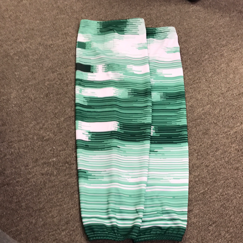 Used Green and White Striped Socks - 30""