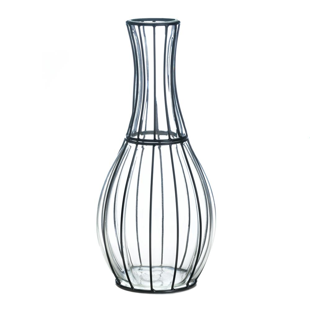 Tall Glass Metal Vase