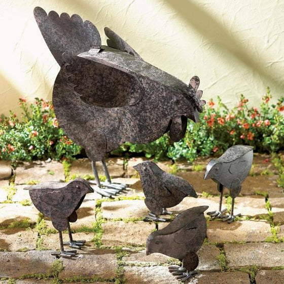Metal Chicken Sculptures