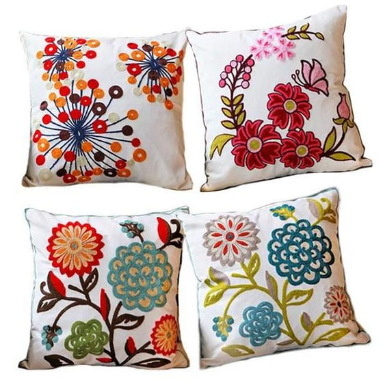 Floral Embroidered Pillows