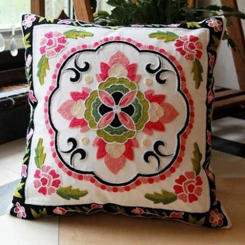 Medallion Pink and Green Pillow
