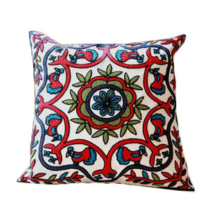 Medallion Red Blue Rooster Pillow