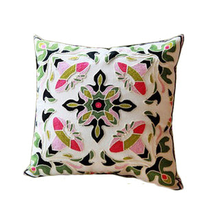 Medallion Green and Black Pillow